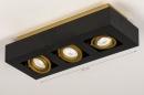 Plafondlamp 74138: design, modern, metaal, zwart #1