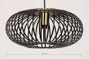 Hanglamp 74244: modern, retro, metaal, zwart #1
