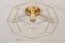 Plafondlamp 74270: modern, eigentijds klassiek, messing, metaal #1