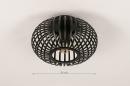 Plafondlamp 74281: modern, retro, metaal, zwart #1