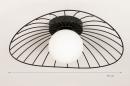 Plafondlamp 74332: modern, retro, glas, wit opaalglas #1