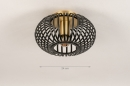 Plafondlamp 74496: modern, retro, eigentijds klassiek, metaal #1