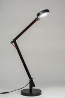tafellamp 10102 modern design industrie look zwart metaal rond