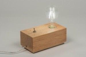 tafellamp 10138 industrie look landelijk rustiek modern hout licht hout rechthoekig