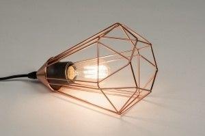 tafellamp 10157 modern eigentijds klassiek landelijk rustiek koper roodkoper metaal