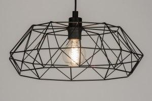 hanglamp 10294 landelijk rustiek modern metaal zwart mat rond