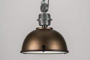 hanglamp 10321 industrie look landelijk rustiek aluminium metaal brons roest bruin brons bruin rond