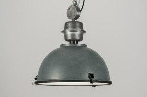 hanglamp 10323 landelijk rustiek industrie look grijs metaal rond