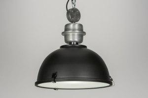 hanglamp 10324 modern landelijk rustiek industrie look antraciet donkergrijs zwart mat metaal rond