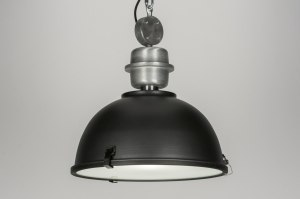 suspension 10324 look industriel rural rustique moderne acier noir mat anthracite rond