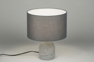 tafellamp 10360 modern landelijk rustiek grijs beton stof rond