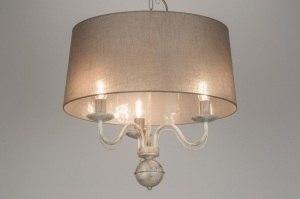 hanglamp 10399 klassiek eigentijds klassiek landelijk rustiek taupe stof rond