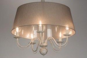 hanglamp 10400 klassiek eigentijds klassiek landelijk rustiek taupe stof rond