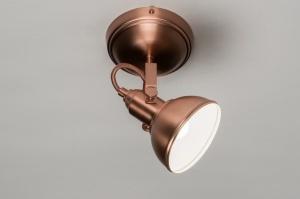 wandlamp 10438 landelijk rustiek klassiek eigentijds klassiek metaal koper roodkoper rond