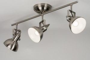 plafondlamp 10444 landelijk rustiek eigentijds klassiek staal rvs metaal staalgrijs rond langwerpig