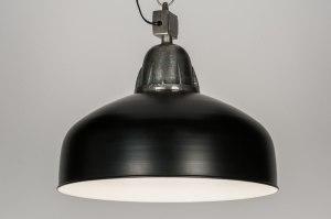 hanglamp 10451 industrie look stoer raw zwart metaal rond