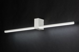 wandlamp 10456 modern design wit mat aluminium langwerpig