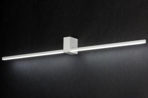 wandlamp 10457 modern design wit mat aluminium metaal langwerpig