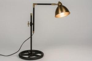 tafellamp 10475 klassiek eigentijds klassiek landelijk rustiek industrie look brons roest bruin messing zwart mat brons messing metaal rond