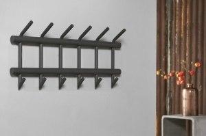 kapstok 10691 modern landelijk rustiek industrie look antraciet donkergrijs metaal