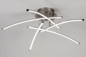 plafondlamp 10777 modern design staalgrijs metaal staal rvs