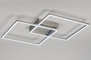 plafondlamp 10839 design modern staal rvs metaal staalgrijs vierkant
