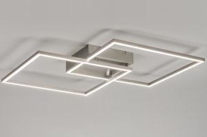 plafondlamp 10840 modern design staalgrijs metaal staal rvs vierkant