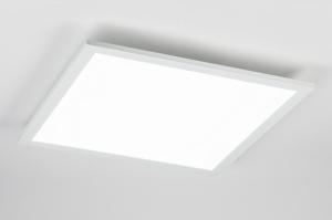 plafondlamp 10854 modern aluminium kunststof metaal wit mat vierkant