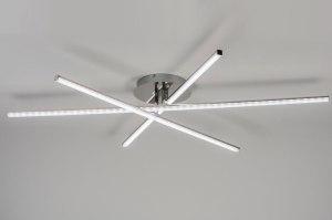 plafondlamp 10877 modern design staalgrijs metaal staal rvs rond