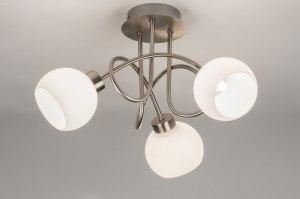 plafondlamp 10879 modern eigentijds klassiek landelijk rustiek wit glas wit opaalglas staal rvs rond