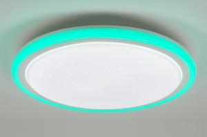 plafondlamp 10894 modern kunststof wit RGB multicolor rond