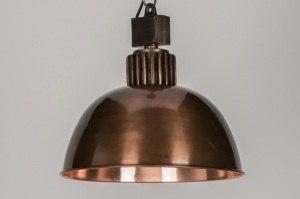 hanglamp 10915 industrie look landelijk rustiek klassiek eigentijds klassiek metaal koper roodkoper rond