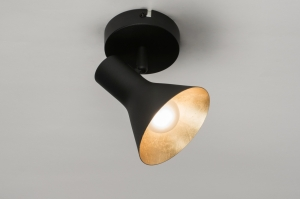 plafondlamp 10998 metaal zwart mat goud