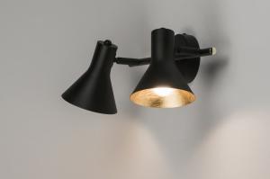 plafondlamp 10999 metaal zwart mat goud rond langwerpig