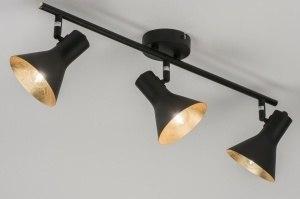 plafondlamp 11000 landelijk rustiek modern eigentijds klassiek metaal zwart mat goud rond langwerpig