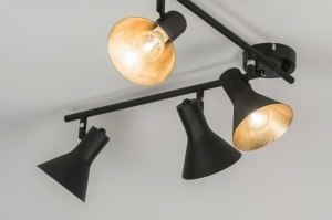plafondlamp 11001 landelijk rustiek modern eigentijds klassiek metaal zwart mat goud rond langwerpig
