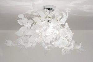 plafondlamp 11007 landelijk rustiek modern stof wit rond