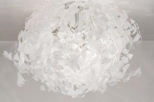 plafondlamp 11008 landelijk rustiek modern stof wit rond