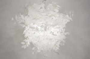 hanglamp 11010 landelijk rustiek modern stof wit rond