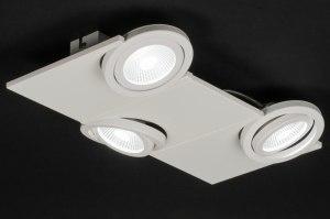 plafondlamp 11060 modern design wit mat aluminium metaal rechthoekig