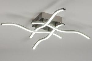 plafondlamp 11068 modern design staalgrijs metaal staal rvs vierkant