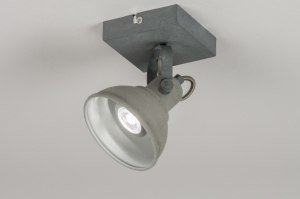 plafondlamp 11070 landelijk rustiek retro industrie look betongrijs metaal rond