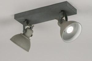 plafondlamp 11071 landelijk rustiek industrie look stoer raw betongrijs metaal rechthoekig rond
