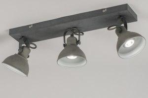 plafondlamp 11072 industrie look landelijk rustiek stoer raw metaal betongrijs langwerpig