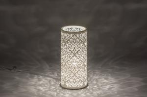 tafellamp 11149 klassiek eigentijds klassiek landelijk rustiek wit mat keramiek rond
