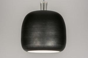 hanglamp 11151 industrie look modern stoer raw aluminium metaal zwart mat rond