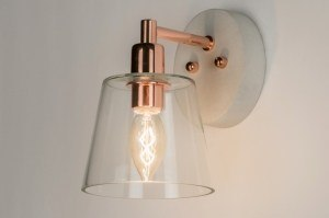 wandlamp 11154 landelijk rustiek eigentijds klassiek glas helder glas beton betongrijs roodkoper rond