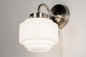 wandlamp 11298 modern eigentijds klassiek art deco hout wenge glas wit opaalglas wit mat