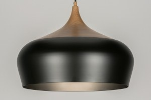 hanglamp 11372 modern retro metaal zwart mat hout rond