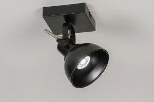 plafondlamp 11376 modern industrie look zwart mat metaal